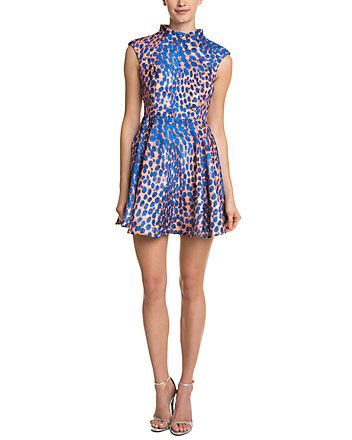 079657ea10442 Spotted this Cameo The Label Night Sky Cobalt Leopard Print Satin Fit &  Flare Dress on Rue La La. Shop (quickly!)