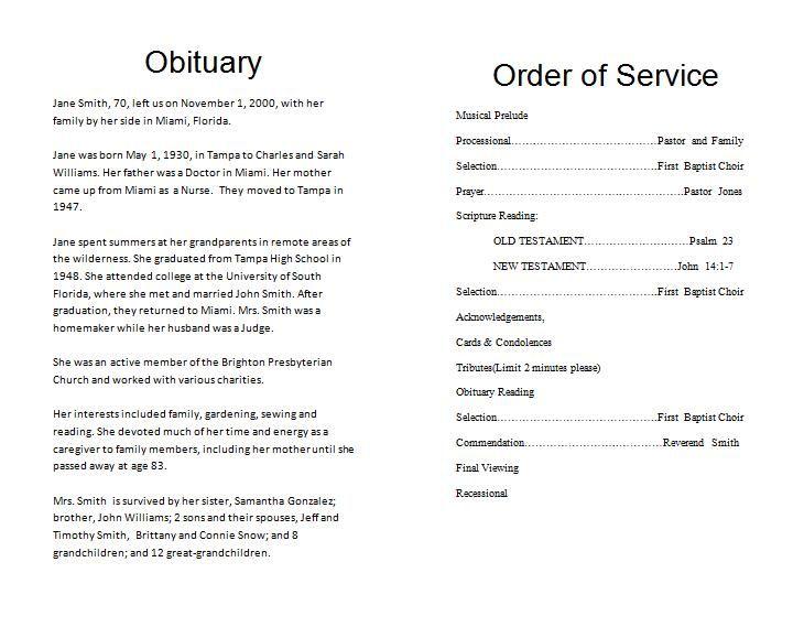 Funeral program Template Funeral Program Pinterest Program - free printable funeral programs templates