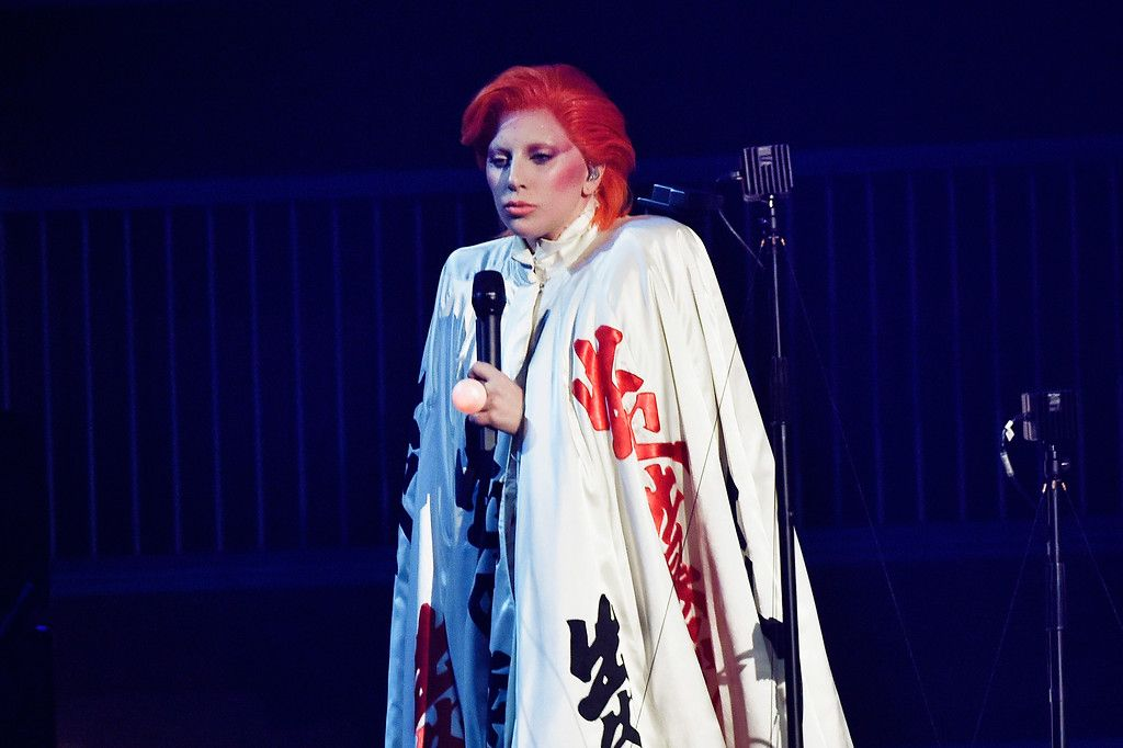 Singer Lady Gaga performs a tribute to the late David Bowie onstage during The 58th GRAMMY Awards at Staples Center on February 15, 2016 in Los Angeles, California.  (Photo by Kevork Djansezian/Getty Images)