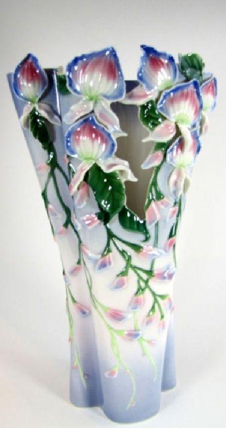 Franz Porcelain Wondrous Wisteria Limited Edition Vase Amazing