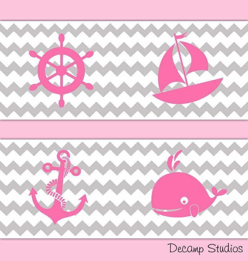 Nautical Nursery Baby Girl Pink Gray Chevron Wallpaper Border Wall Art Decals #D...#art #baby #border #chevron #decals #girl #gray #nautical #nursery #pink #wall #wallpaper #pinkchevronwallpaper
