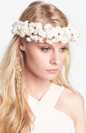 "Whichgoose 'Buds of May' Flower Hair Wreath $65 Sprays of delicate ivory flowers lend dreamlike romance to a magical hair wreath finished with a long, adjustable ribbon tie in the back. Each wreath is handcrafted in Maryland by designer Emily Zych whose collection serves as a homage to woodland wonderment. 2 1/2"" width. Synthetic. By Whichgoose; made in the USA."