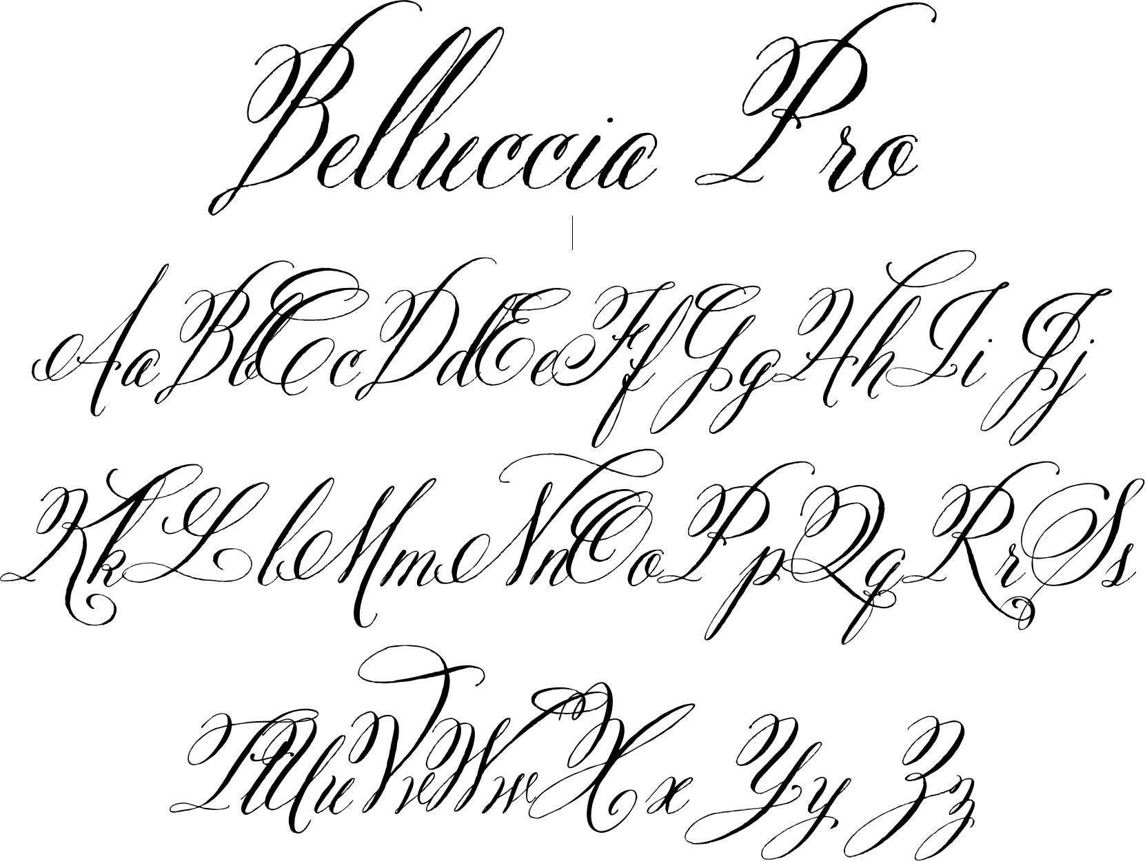 Belluccia pro font created with brides and invitation