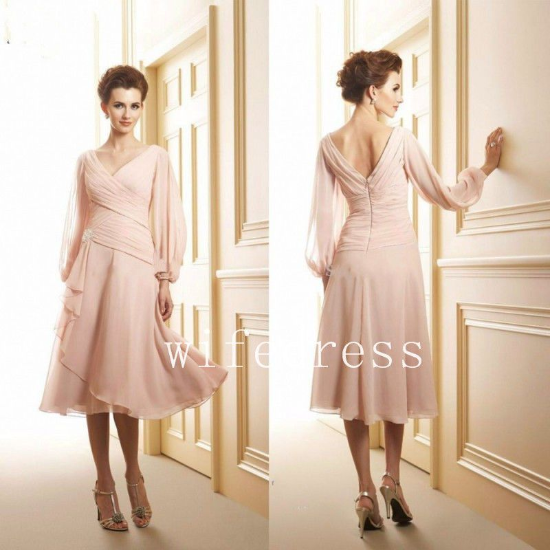 Details about chiffon tea length pink mother of the bride