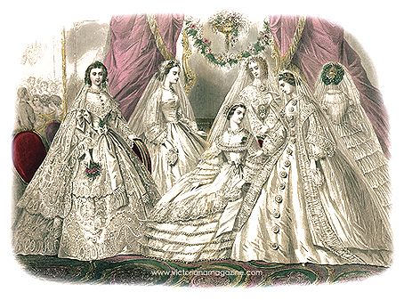 ... fashion print from Godey's magazine with Civil War era wedding dresses (my sisters and I had these prints on our wall)