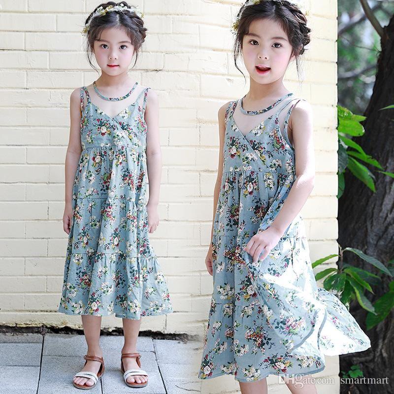 0e89ef12f15 2018 Everweekend Kids Girls New Summer Fashion Print Flowers Korean Dress  Children Sweet Patchwork Vintage Girls Dress From Smartmart