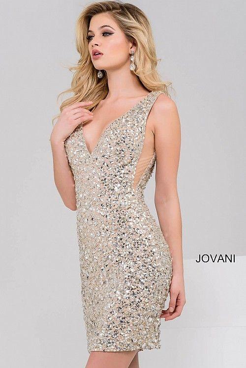 Sexy Silver and Nude V Neck Embellished Short Dress #45060 #JOVANI ...