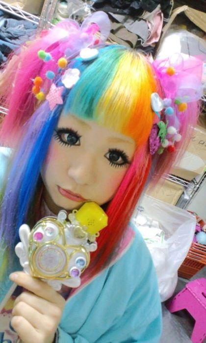 rainbow hair big anime eyes real girl decora lolita wig adorable blue ...420 x 700 | 96.7KB | www.tumblr.com