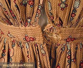 PRINTED COTTON DAY DRESS, c 1838