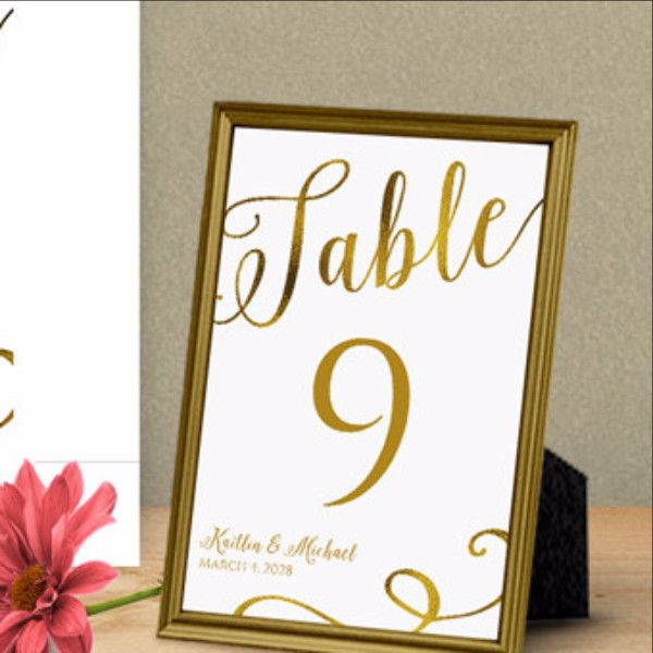 Calligraphy gold foil table number template 4 x 6 table numbers calligraphy and diy for Wedding table numbers template