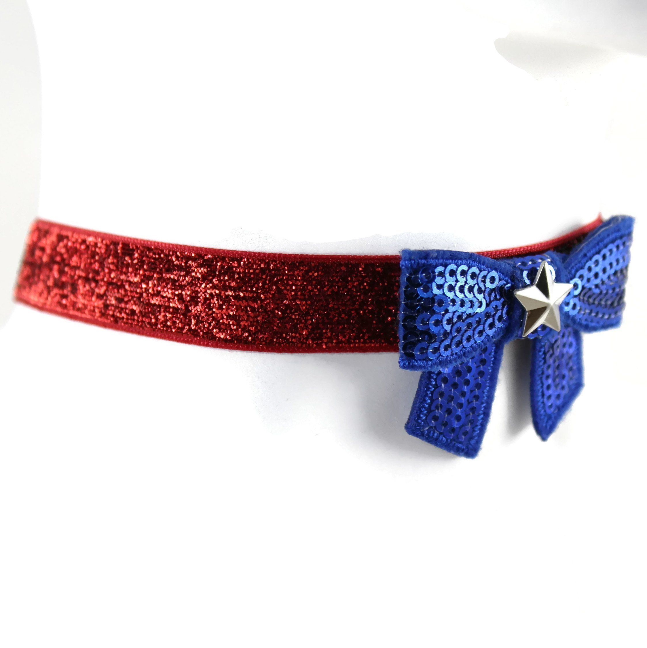 Arthlin Patriotic Women Bow Tie Choker Necklace in American Flag Colors  Glittery Red White and Blue Fun Accessory for 4th of July Made in USA    Be  sure to ... 87d1e3aae285