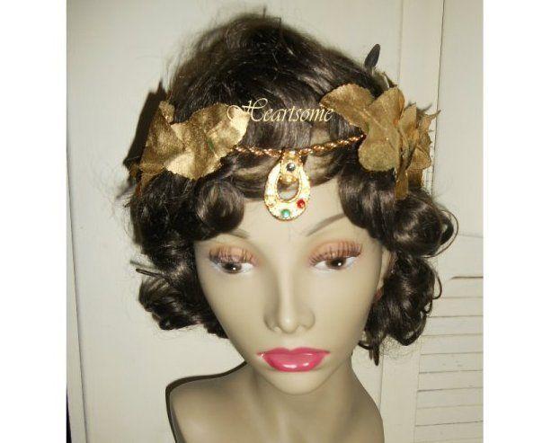 Roman wreath toga gold laurel costume TOGA head band handmade jeweled men women