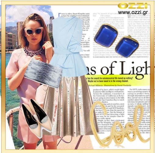 #LookOfTheDay Για ένα chic καλοκαιρινό look επιλέγουμε μεταλλικές και γήινες αποχρώσεις, και για να ολοκληρωθεί, σκουλαρίκια minimal με πολύχρωμα κρύσταλλα! Σκουλαρίκια επίχρυσα με μπλε κρύσταλλο και 50% έκπτωση μόνο 10€!! #polyvore #earrings #blue #jewellery #gifts #ozzi_jewellery