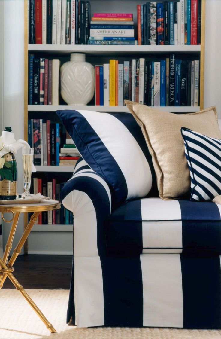 The blue and white bold stripe of Ralph Lauren Home\'s Bel Air sofa ...