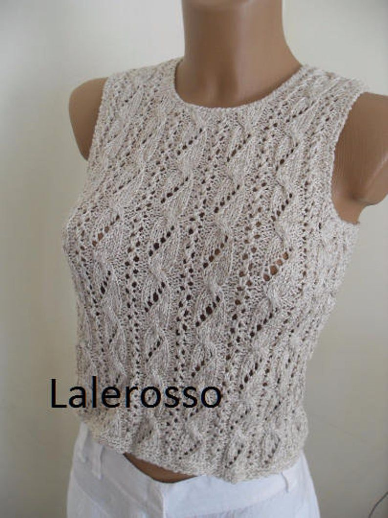 Photo of Linen тор , hand-knitted lace crochet