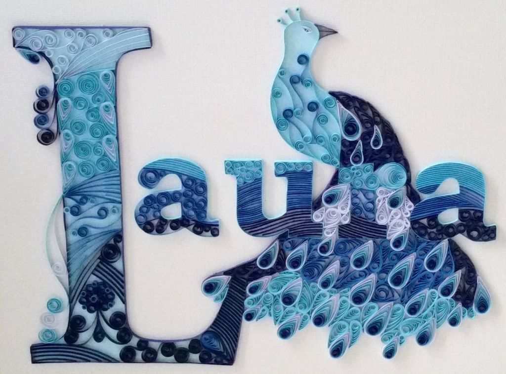 laura name peacock quilling pinterest buchstaben. Black Bedroom Furniture Sets. Home Design Ideas