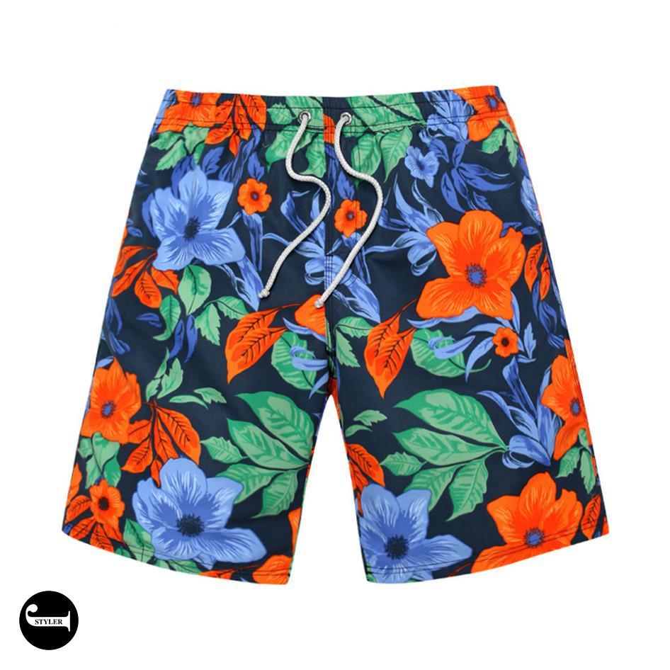 Men Quick-dry Hawaiian Swimming Shorts Board Surf Sports Swim Trunks+Cap XXL-5XL