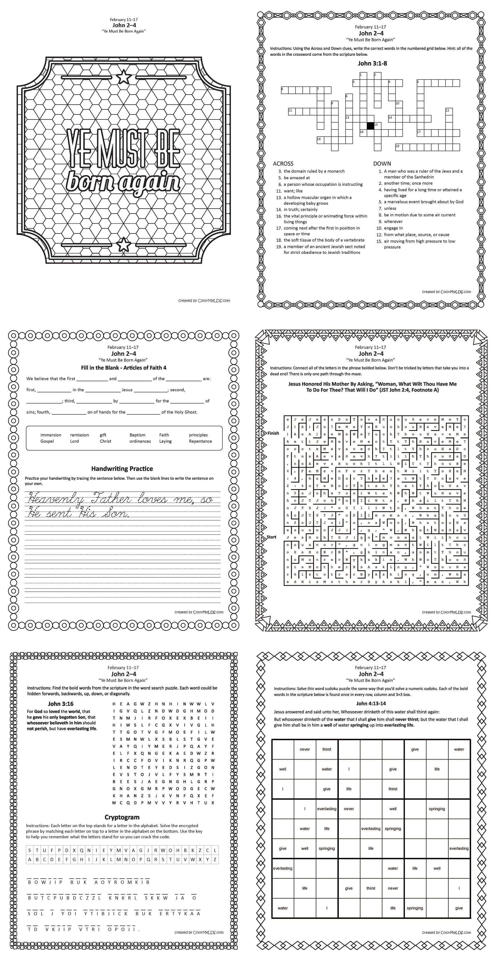 Free Lds Worksheets And Printables Mazes Crosswords Word