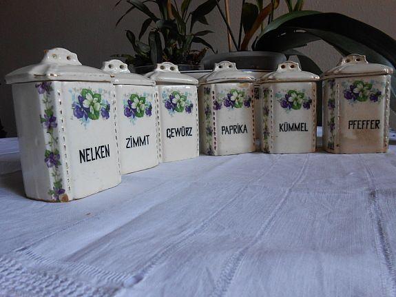 vorratsbehalter bild 1 komplettes set 6 kleine alte keramik gewarzdosen schatten samt deckel glas eckig