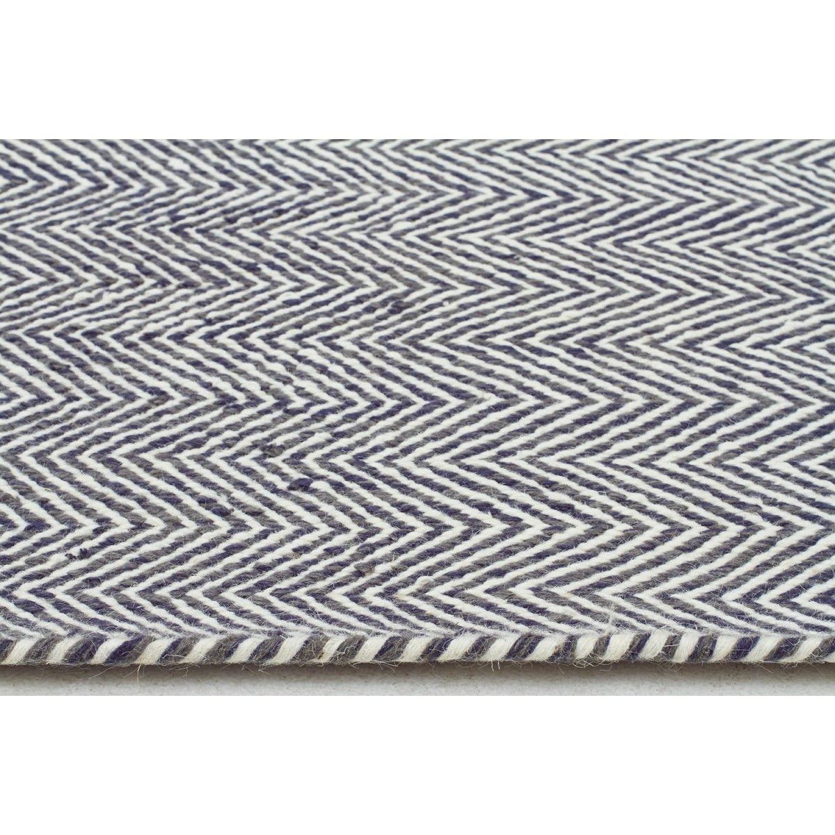 Mölle Blue Grey Herringbone Wool Flatweave Rug