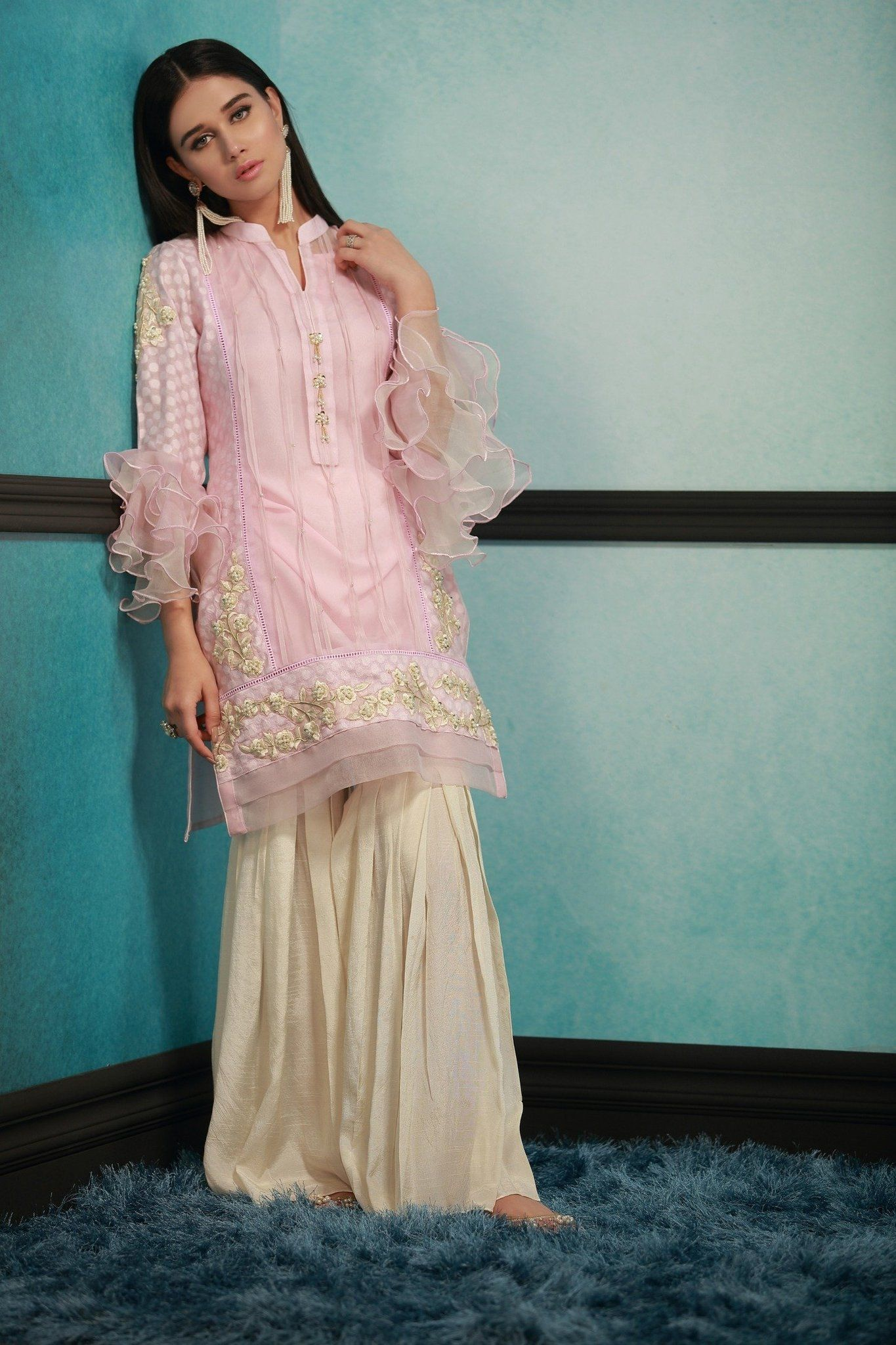 Glossy Light Pink Net Fabric Pakistani Ready to Wear Pret Dresses ...