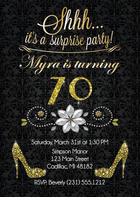 70th Birthday Invitation  Gold Glitter Birthday Party Invite  Surprise Birthday Invitation for Adu