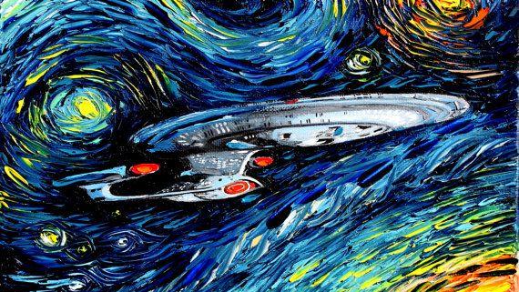 Star Trek Art Enterprise Starry Night Print By Sagittariusgallery