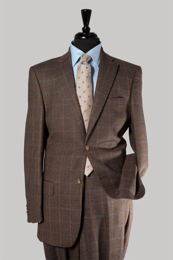 Brown Flannel Plaid Suit, Classic Cut #BrownSuit $497 | BROWN ...