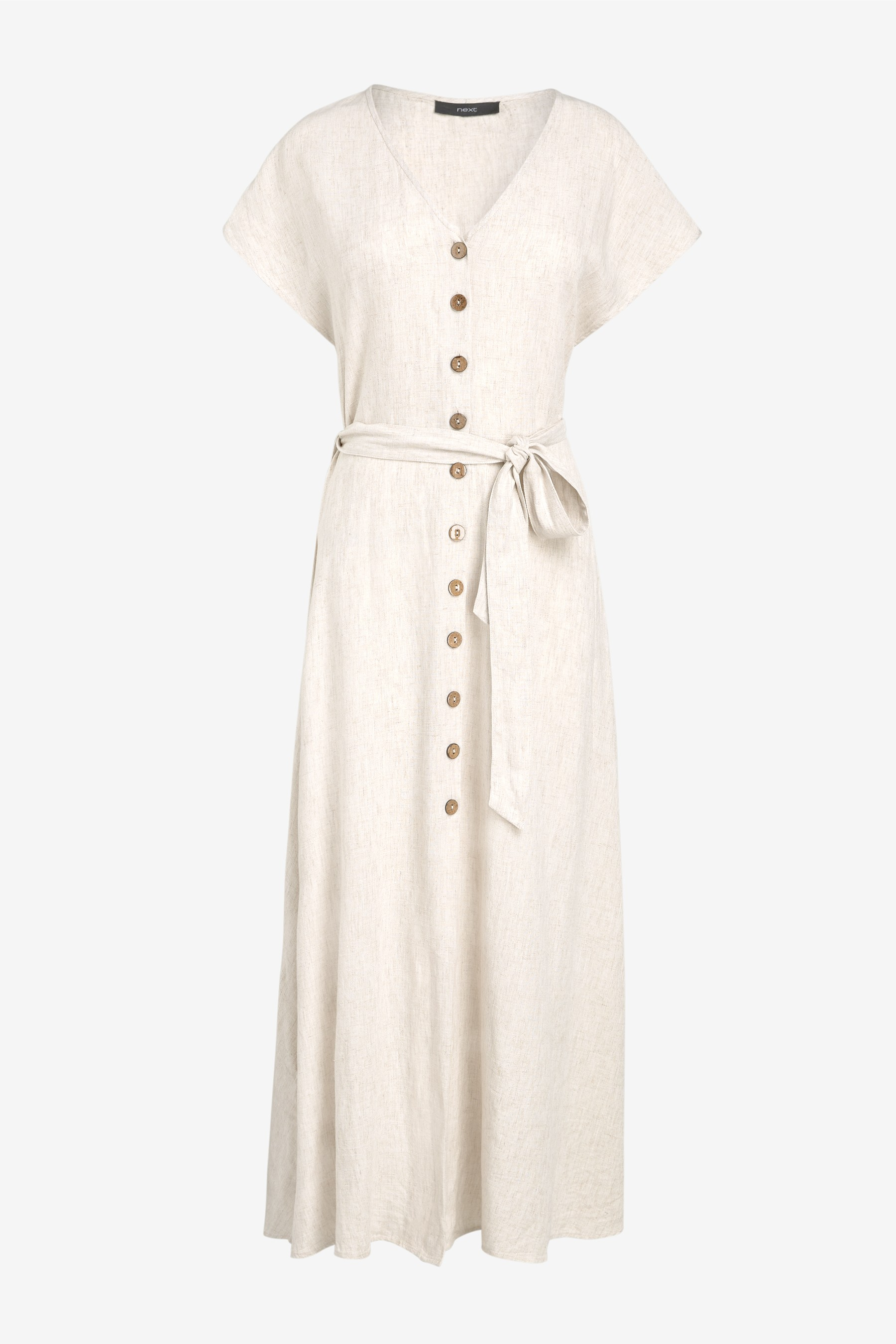 3bf3766837c Womens Next Stone Linen Blend Button Detail Midi Dress - Natural in ...