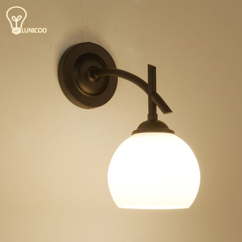 Lunicoo modern wall lights iron lamp body glass lampshade e27 lamp lunicoo modern wall lights iron lamp body glass lampshade e27 lamp holder down freeship for bedroom mozeypictures Choice Image