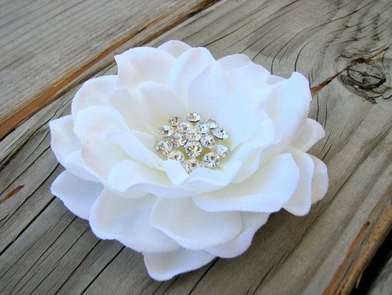 Bridal Antique White Gardenia Flower Fascinator Hair Clip Wedding Rhinestone Head Piece B White Flower Clip Rhinestone Wedding Hair Clip White Flower Hair Clip