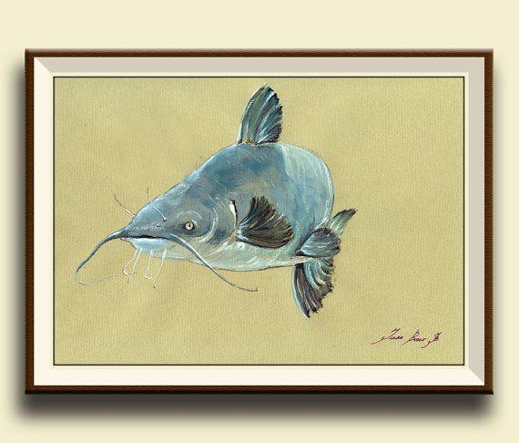 PRINT-Catfish - fish watercolor painting print - game fishing decor ...