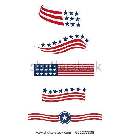 Usa Star Flag Logo Stripes Design Elements Vector Icons Flag Logo Flag Flag Icon
