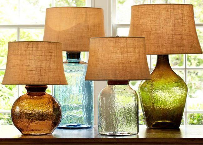 L mparas de mesa hechas con botellas de cristal y - Lamparas hechas con botellas ...