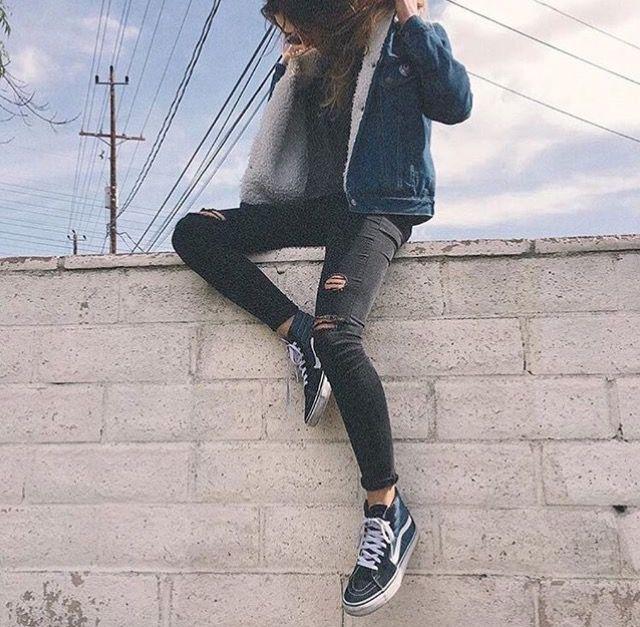 S8 hi black vans ~ fur lined jean jacket ~ ripped black jeans | vans outfit | Pinterest | Black ...