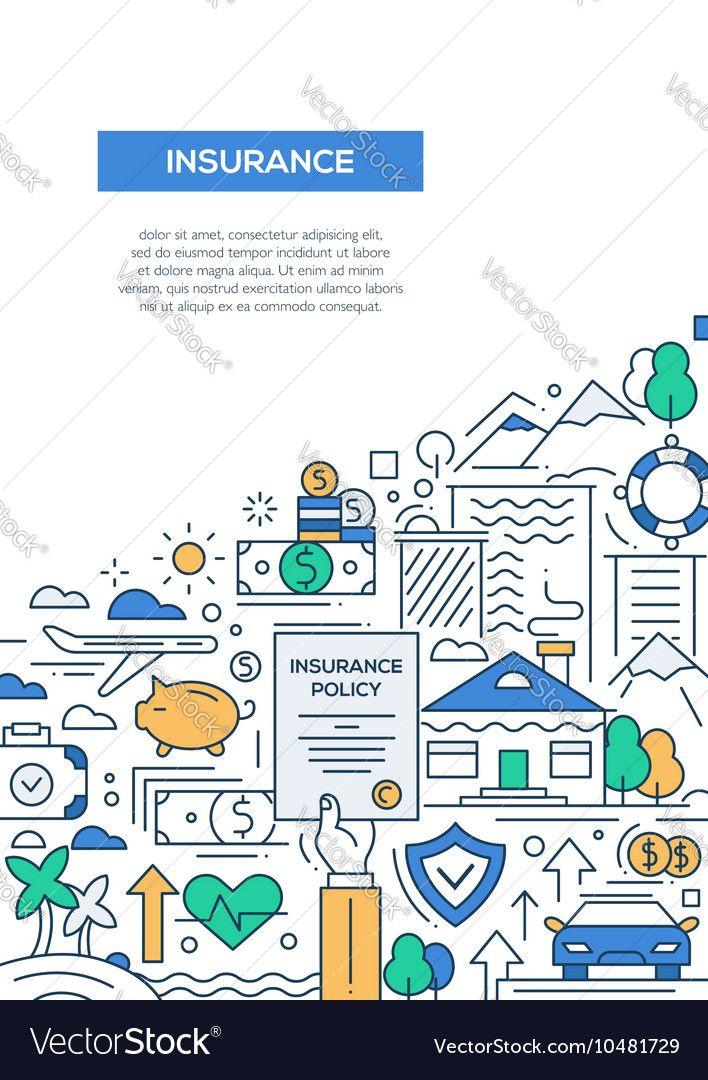 insurance - vector line design brochure poster, flyer presentation, Powerpoint templates