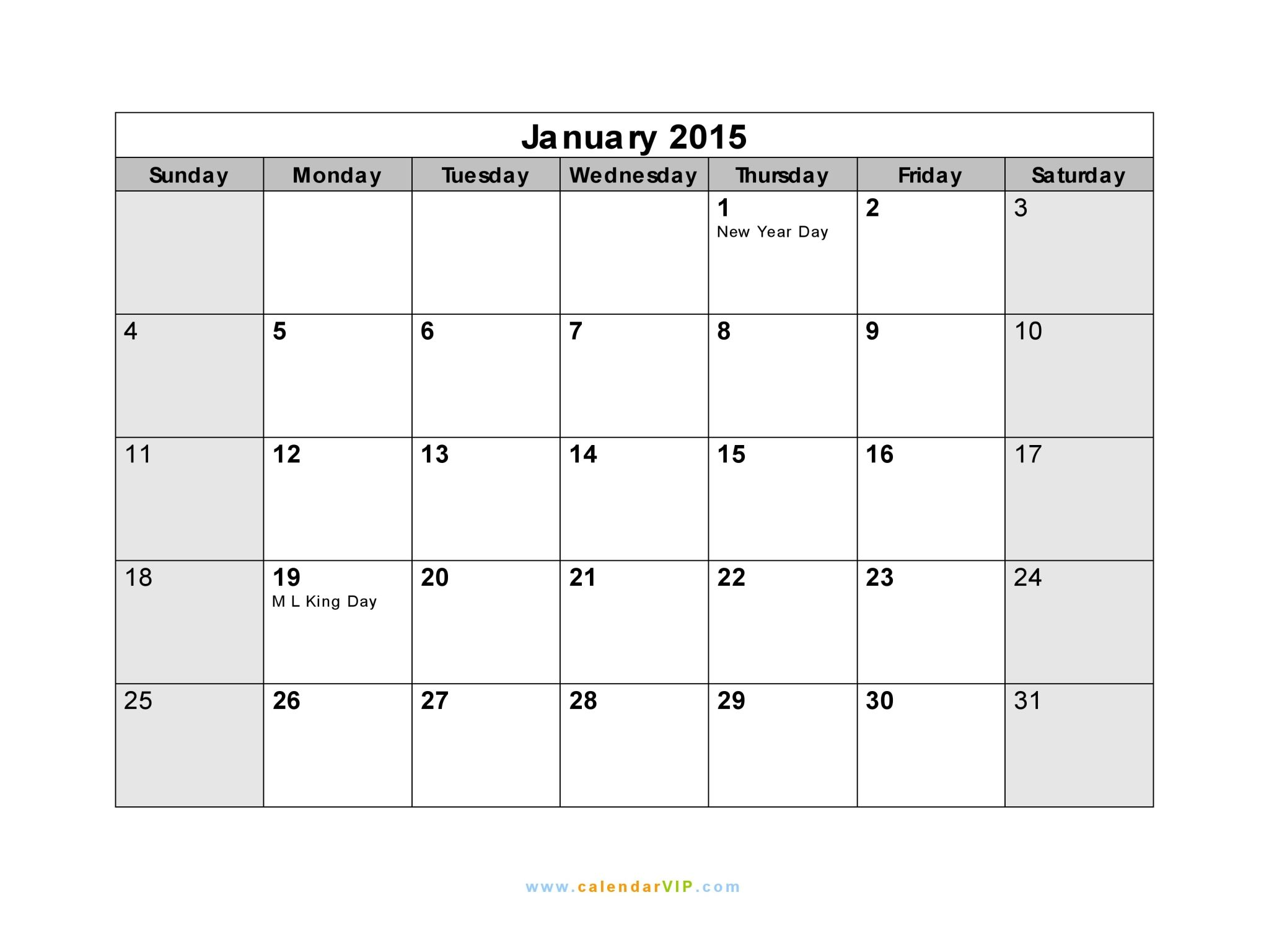 January 2015 Calendar With Holidays January 2015 Calendar Blank