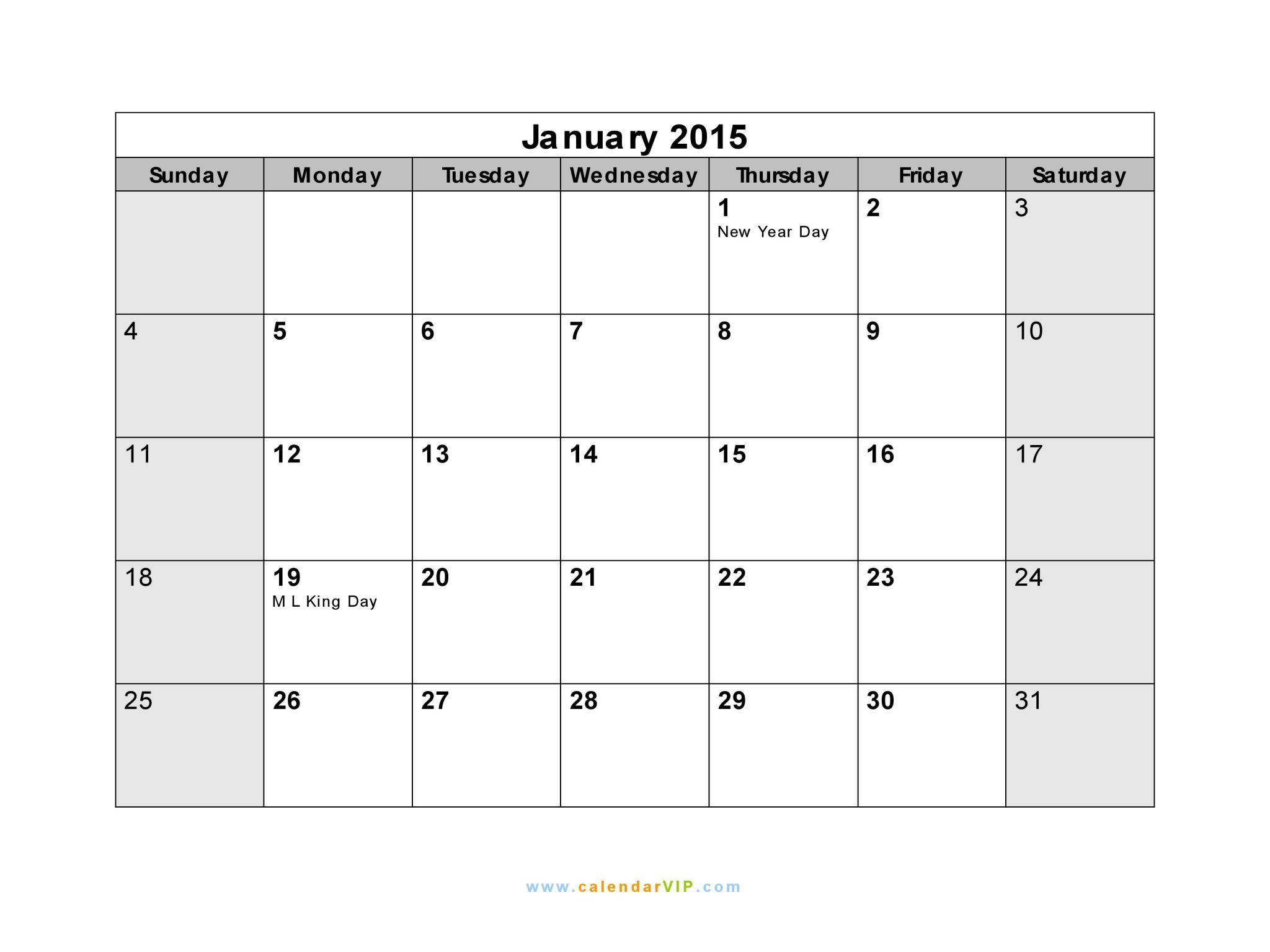 January Calendar With Holidays January Calendar