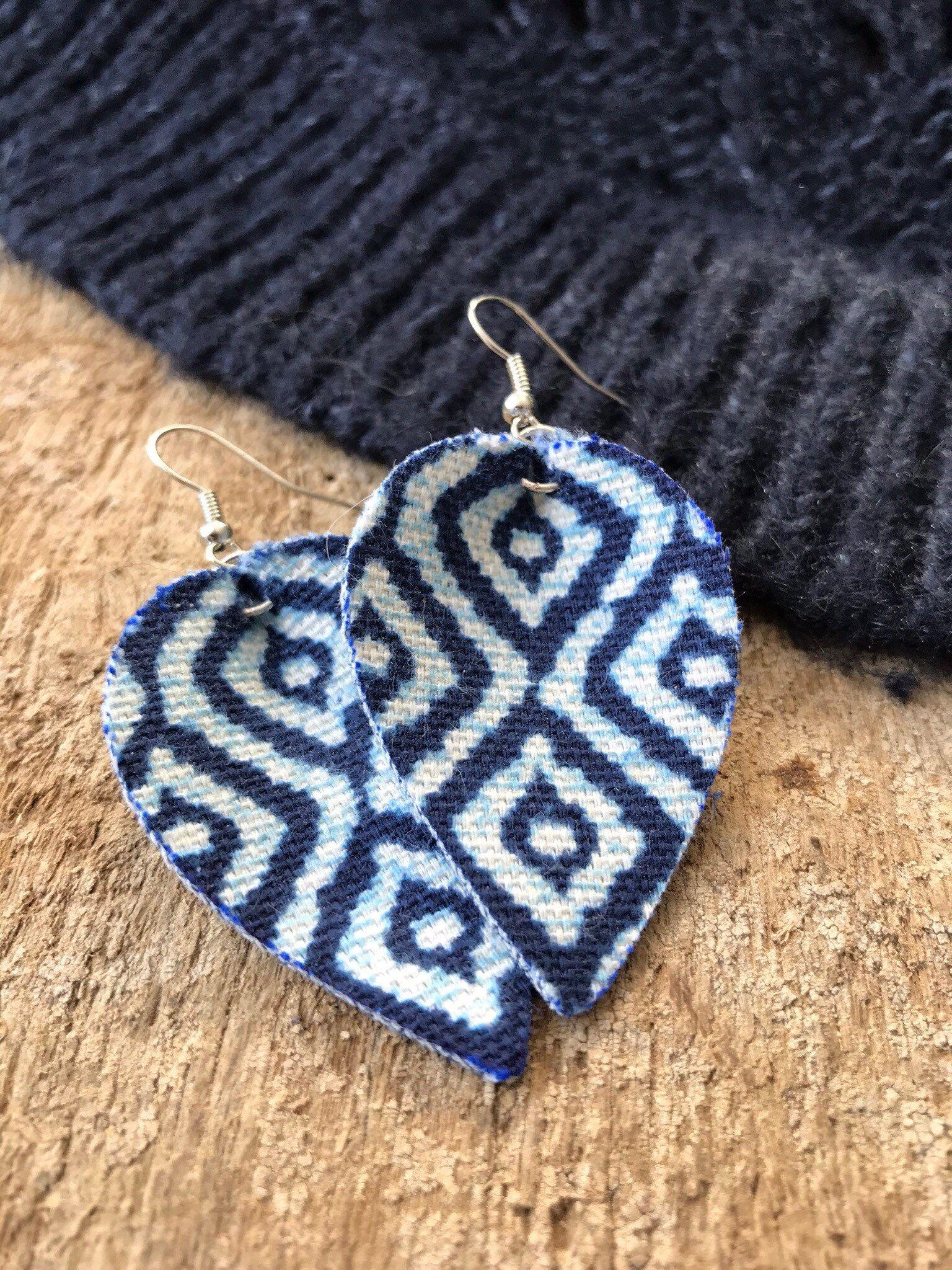 ae30ed496 Denim earrings, Faux leather earrings, Blue Denim tear drop earrings. Denim  ikat #earrings #jewelry #etsy