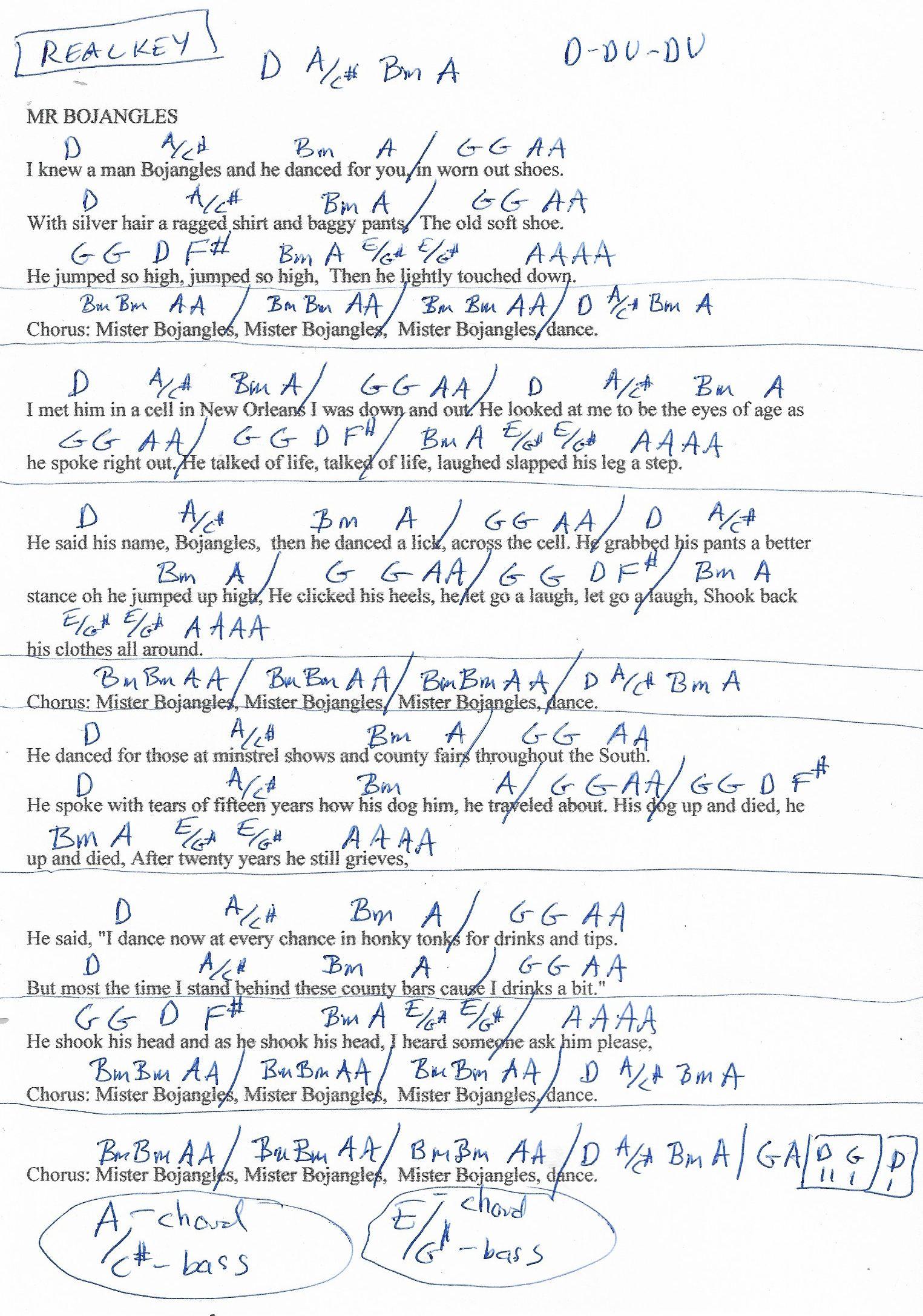 Mr Bojangles Jerry Jeff Walker Guitar Chord Chart   D Major ...