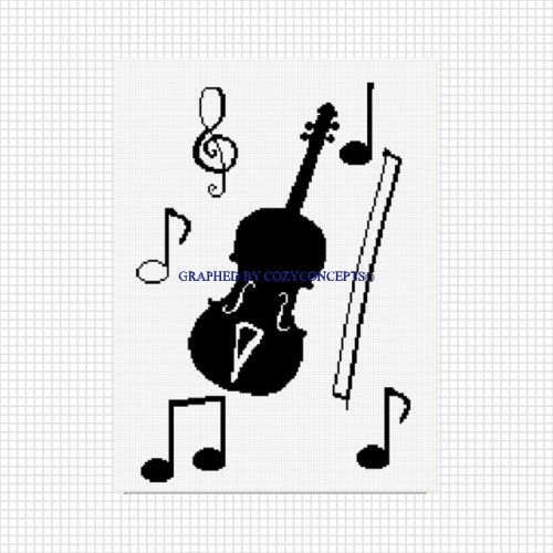 Cozyconcept Viola Violin Music Silhouette Crochet Afghan