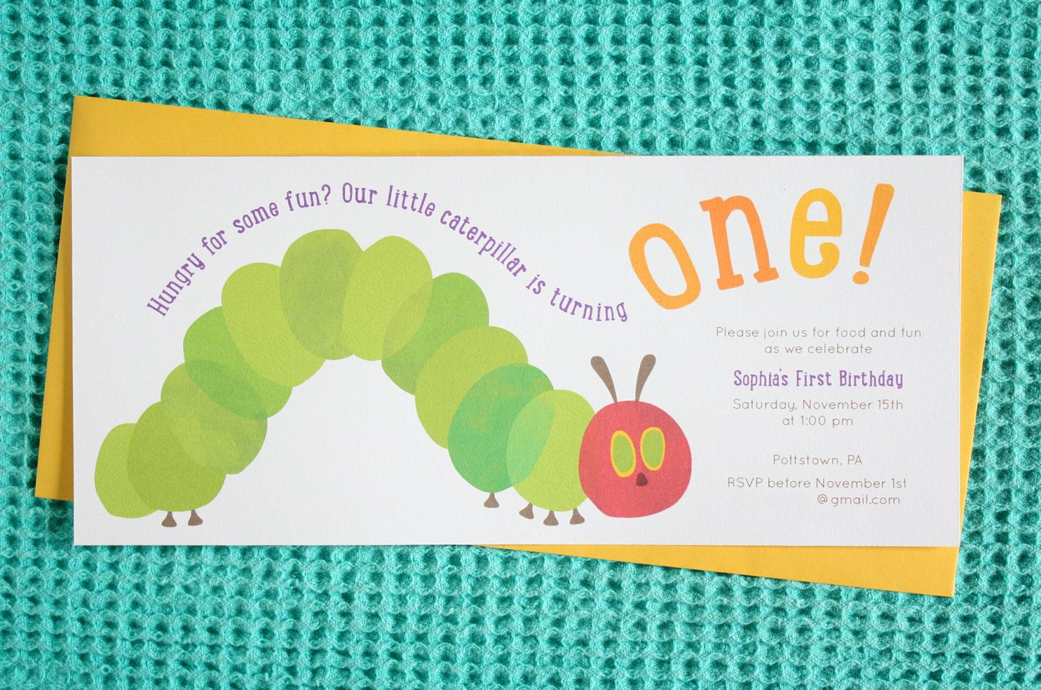 Hungry Caterpillar Birthday Party Invitation by QCreativeDesign on ...