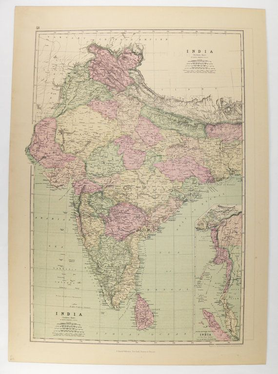 1873 Vintage Map India, Ceylon Map Sri Lanka, Nepal Map
