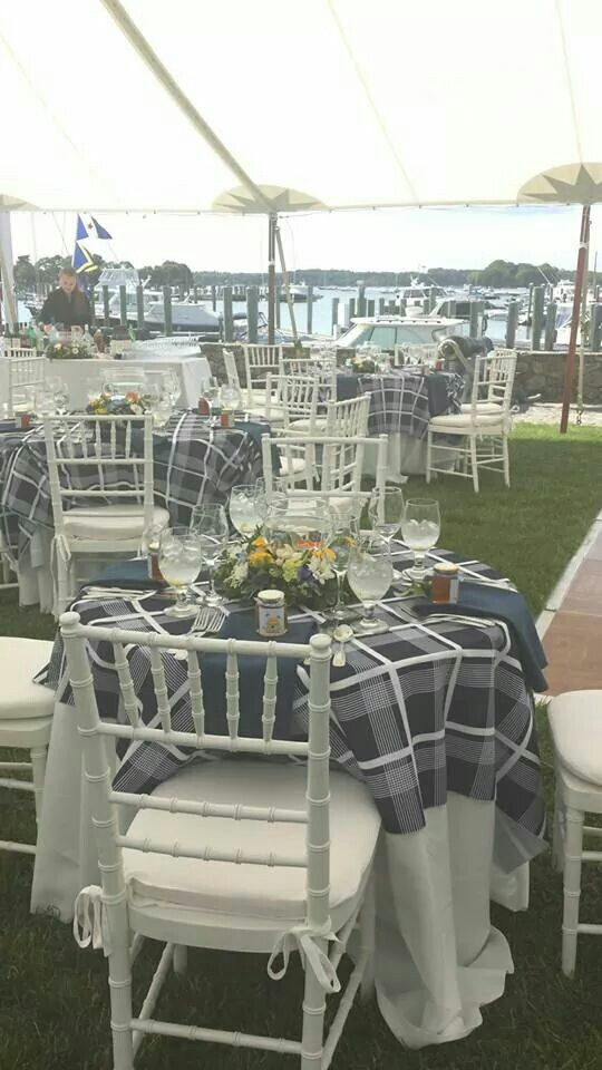 navy liberty plaid with white chiavari chairs thecasualgourmet cape