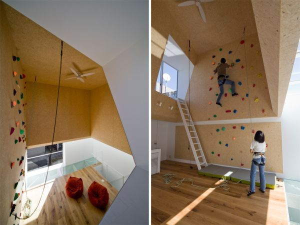 Modern homes featuring a rock climbing wall Trampolines