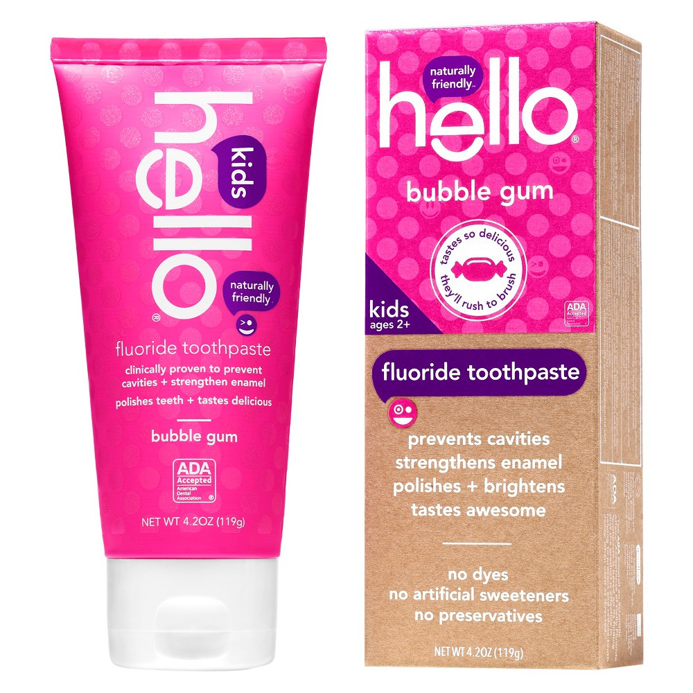 Hello Bubble Gum Fluoride Toothpaste for Kids. This