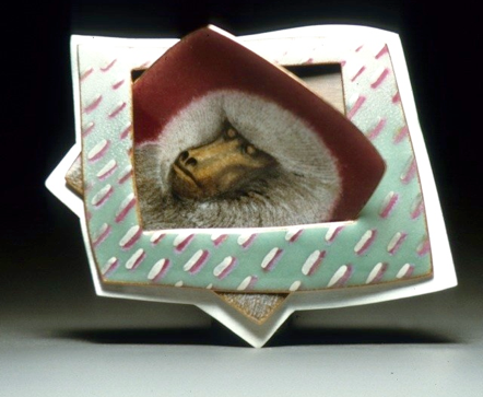 Martha Banyas -   Untitled. Monkey ancestor pin. Enamel on copper, silver. 1982. BA134
