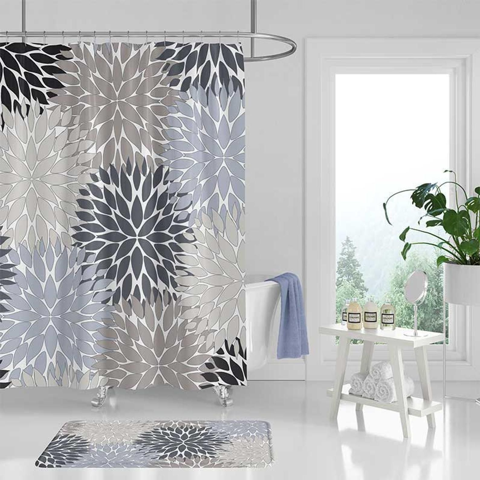 Gray Shower Curtain Bathroom Rug Blue Black Beige Bathroom Etsy Floral Shower Curtains Boho Bathroom Decor Gray Shower Curtains