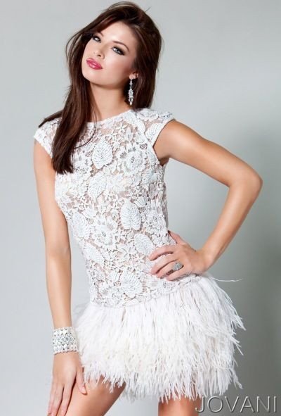 Jovani Short Lace and Feather Prom Dress 171924 at frenchnovelty.com ...