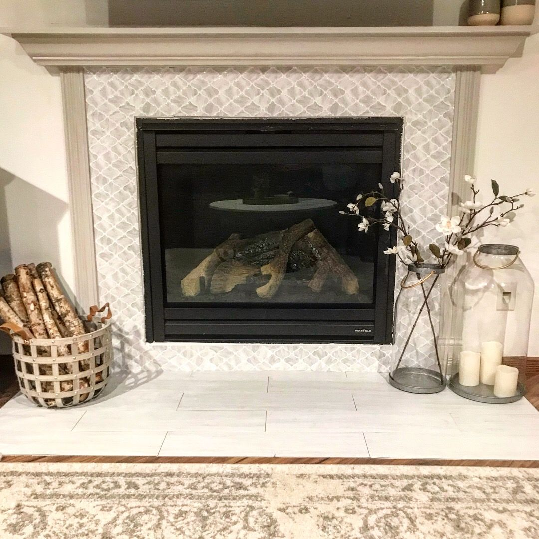 Fireplace Update Peel And Stick Vinyl Tile Magnolia Hearth And Hand Style Diy Fixer Upper Style Farmhouse Decor Ren Fireplace Fireplace Update Vinyl Tile